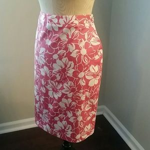 Brooks Brothers Pink & White Floral Print Skirt